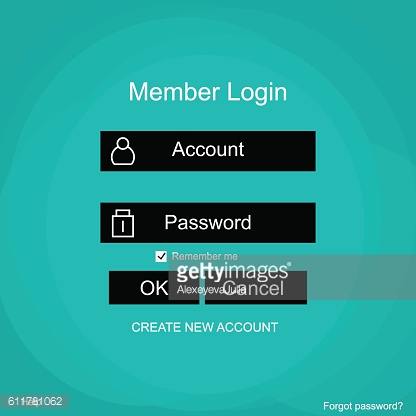 Login form menu with simple line icons.
