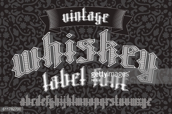 Whiskey label font and sample design with decoration  ribbon