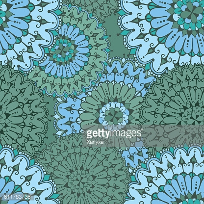 Seamless pattern with circular floral ornament