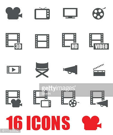 Vector grey movie icon set on white background