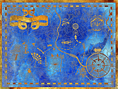 Old pirate map with mayan pattern and symbols