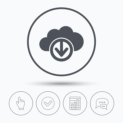 Download from cloud icon. Data storage sign.