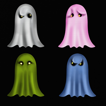 little cute colorful ghosts