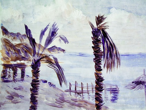 Watercolor painting of the  sea coast