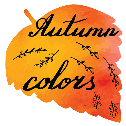 Autumn watercolor banner with hand lettering