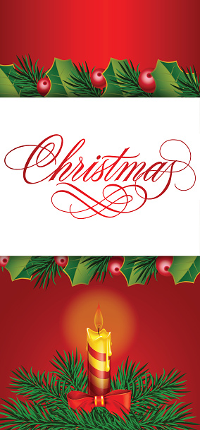 Christmas Lettering, Candle and Fir Branch