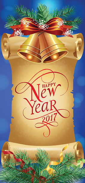 Happy New Year 2017 Lettering and Bells