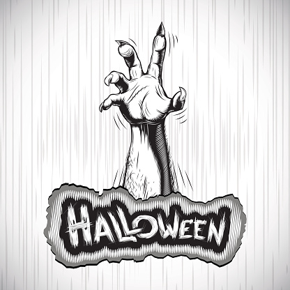Halloween Background Zombie Hand Fog Title Sigh Tradition Holiday White