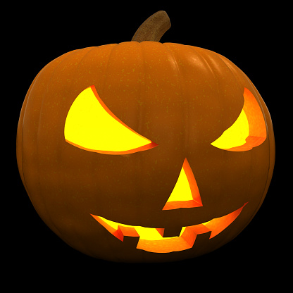 Halloween Pumpkin Jack-O'-Lantern with Scary Face Isolated on Black