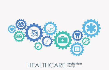 Healthcare mechanism concept. Abstract background with connected gears and icons