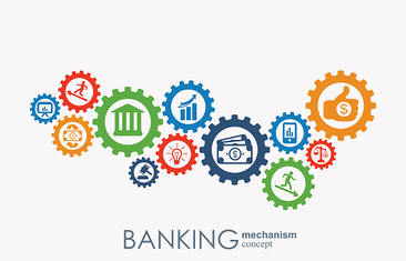 Banking mechanism. Abstract background with connected gears and integrated flat