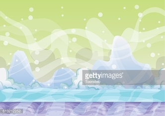 cartoon vector snow landscape background with separated layers