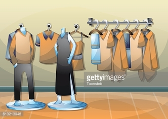 cartoon vector illustration interior clothing room with separated layers