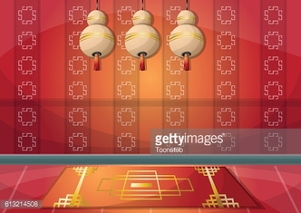 cartoon vector illustration interior chinese room with separated layers
