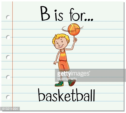 Flashcard letter B is for basketball