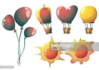 cartoon vector cute balloons object with separated layers