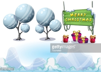 cartoon vector christmas landscape object with separated layers