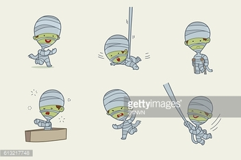 Mummy cartoon character design, Halloween set, Vector illustration.