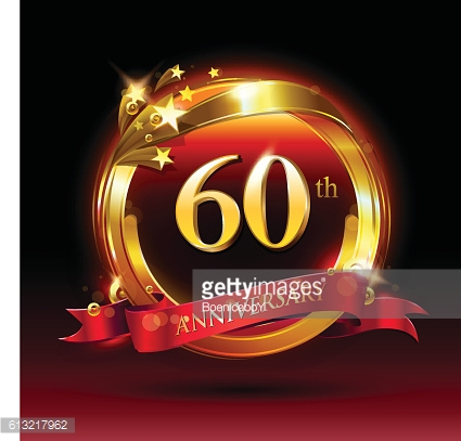 60th golden anniversary logo with ring and red ribbon