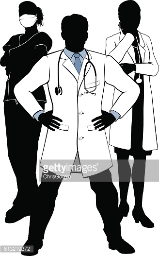 Medical Team Doctors and Nurses Group Silhouettes