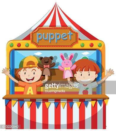 Boys playing puppet on stage