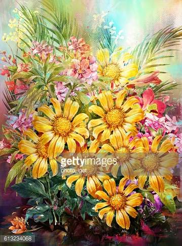 Bouquet of multicolored flowers watercolor painting
