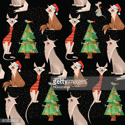 Holiday for cats. Сats, mouse and Christmas tree