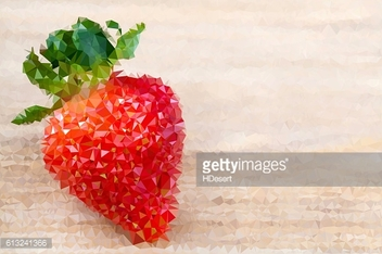 Big red ripe strawberry on wooden table, abstract polygonal texture