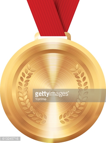 Round golden medal. First place award.