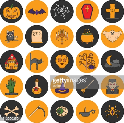 Vector cartoon hand drawn Halloween icons