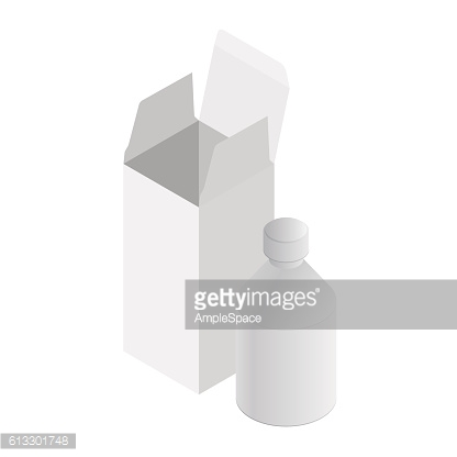 Isometric medicine box and bottle