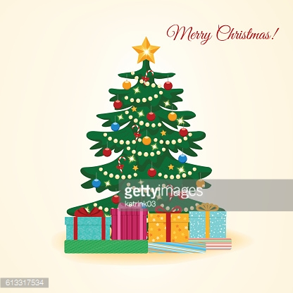 Christmas tree with colorful boxes with gifts