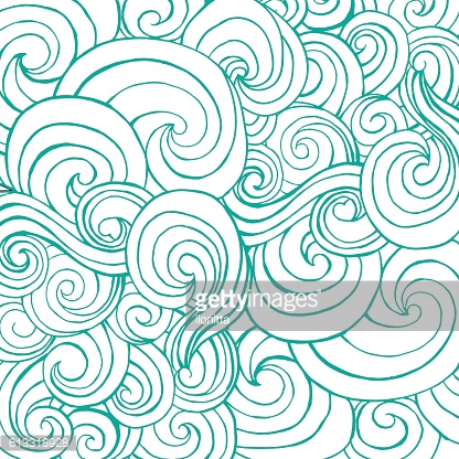 Seamless pattern with blue white stylized curls and waves for