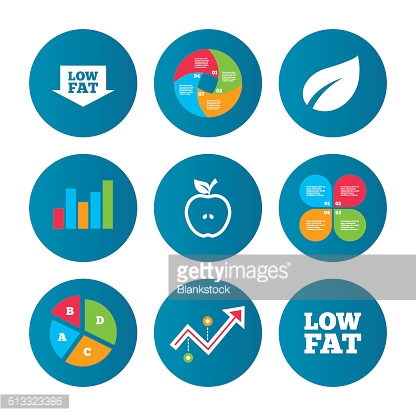 Low fat icons. Diets and vegetarian food signs.