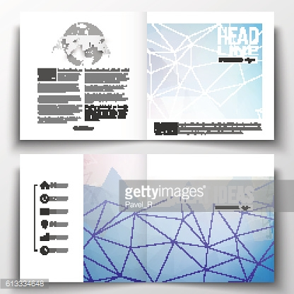 Set of square design brochure template. Abstract colorful polygonal background