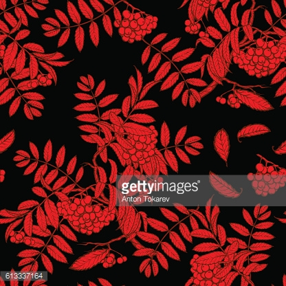 Autumn rowanberry leaves and berries seamless pattern Red  Black