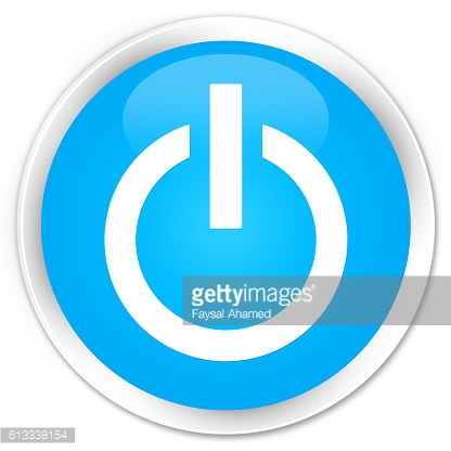 Power icon cyan blue glossy round button