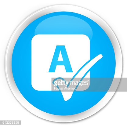 Spell check icon cyan blue glossy round button
