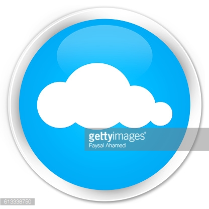 Cloud icon cyan blue glossy round button