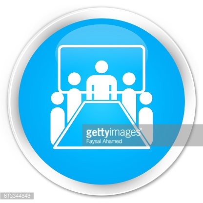 Meeting room icon cyan blue glossy round button