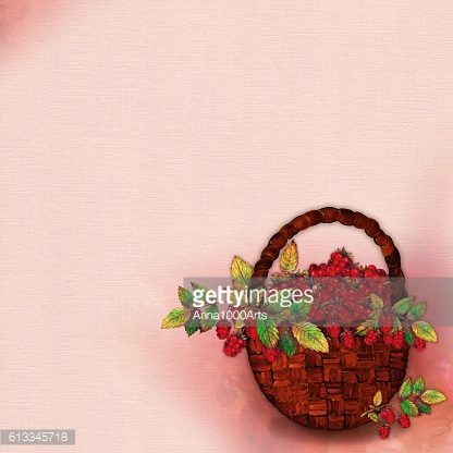 Watercolor Autumn Illustration with Basket