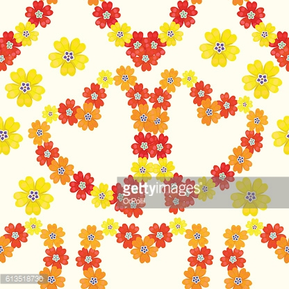 seamless pattern spring Polyanthus primula flowers heart. vector