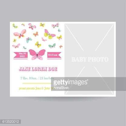 Baby Girl Arrival Card with a Butterfly Theme
