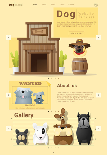 Animal website template  banner and infographic with Dog 7