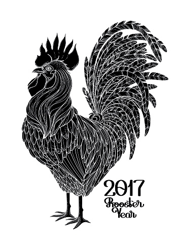Graphic decorative rooster