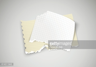 two pieces of torn paper on light background