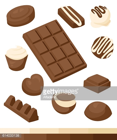 Chocolate, vector icon set. Different kinds of cacao products energy