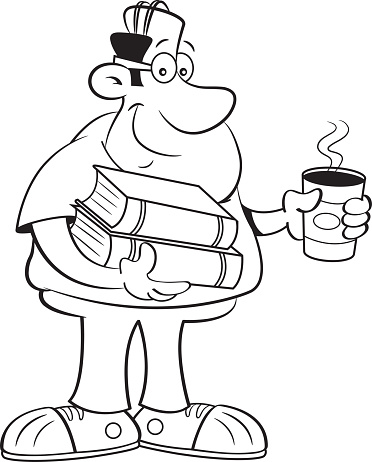 Cartoon man holding books and a cup of coffee.