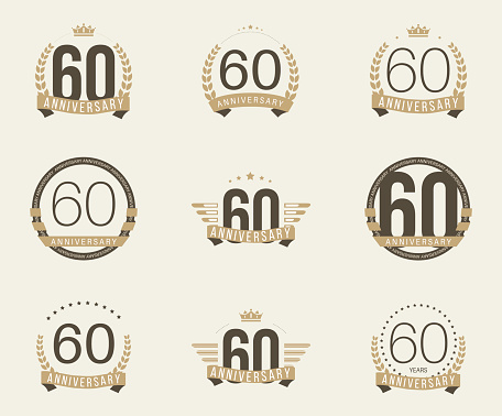 Sixty years anniversary celebration logotype collection. 60th anniversary logo.