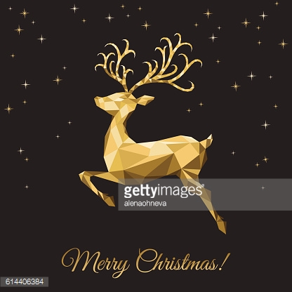 Xmas greeting card with  low poly triangle gold  deer.